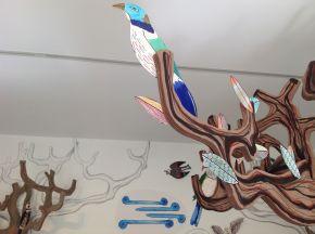Tui in the tree branches O-Tū-Kapua exhibition Te Uru Gallery 2017