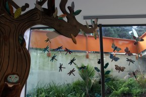 Gallery Window: Birds Dragonflies and leaves