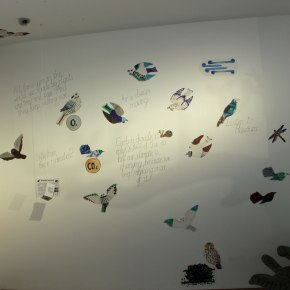 Birds and wall text